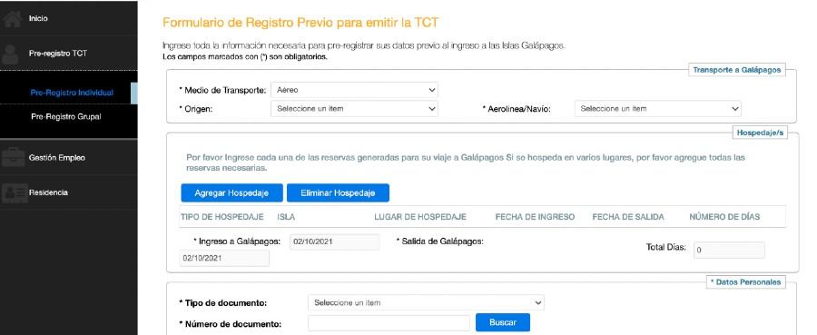 Registro TCT Galápagos