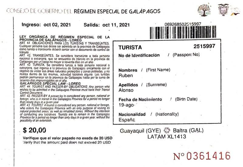 Tarjeta de Control de Tránsito Galápagos
